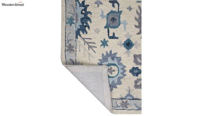 Ivory Blue Suzani Hand Tufted Wool Carpet - 8 x 5 Feet-4