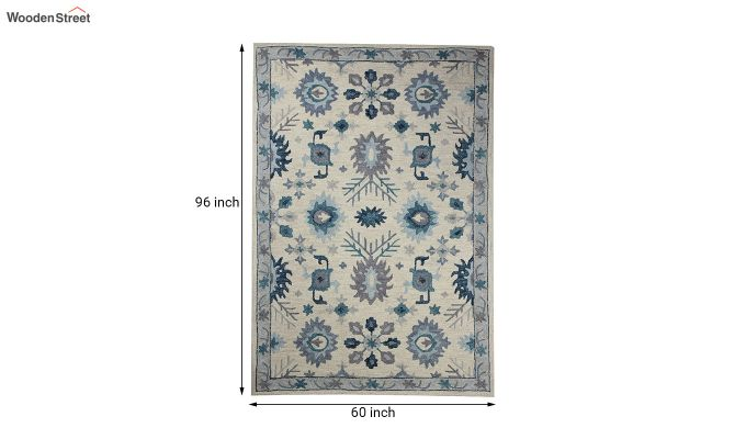 Ivory Blue Suzani Hand Tufted Wool Carpet - 8 x 5 Feet-5