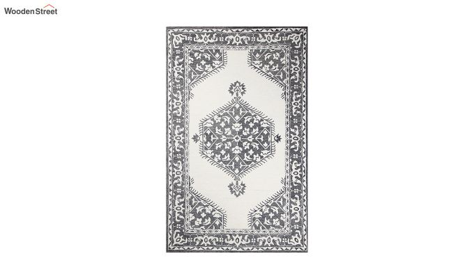 Ivory Charcoal Traditional Hand Tufted Wool Carpet - 8 x 5 Feet-2