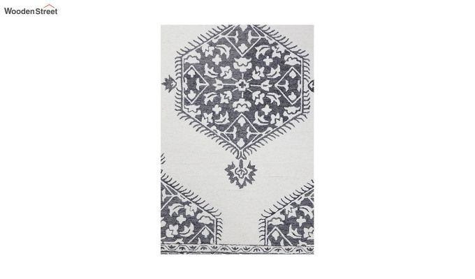 Ivory Charcoal Traditional Hand Tufted Wool Carpet - 8 x 5 Feet-4