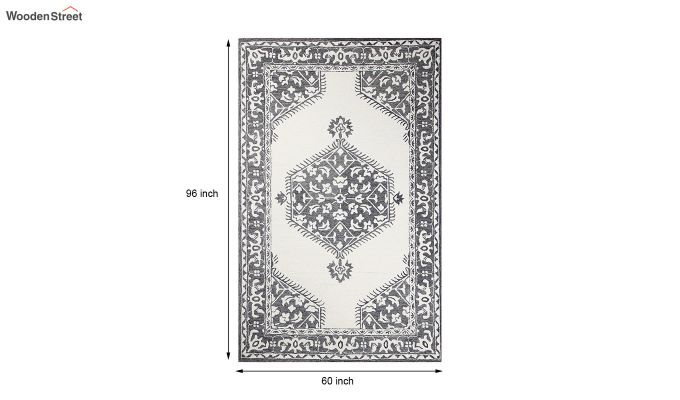 Ivory Charcoal Traditional Hand Tufted Wool Carpet - 8 x 5 Feet-6