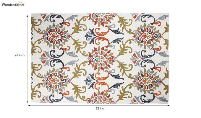 Ivory Suzani Hand Tufted Carpet - 6 x 4 Feet-5