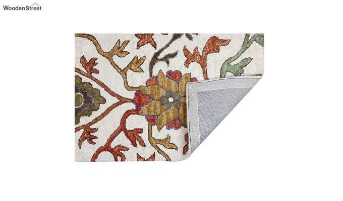 Ivory Suzani Hand Tufted Wool Carpet - 6 x 4 Feet-3