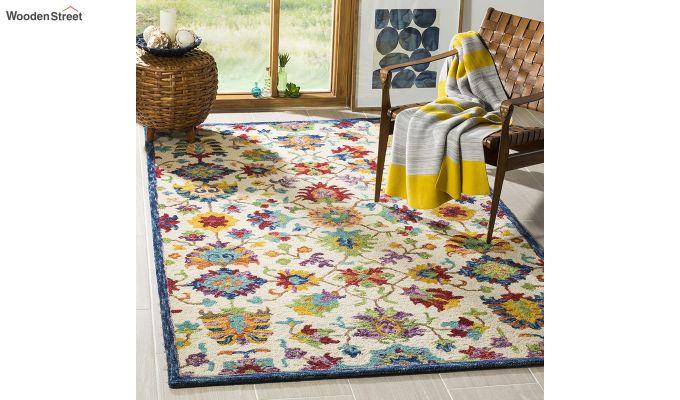 Ivory Suzani Hand Tufted Wool Carpet - 8 x 5 Feet-1