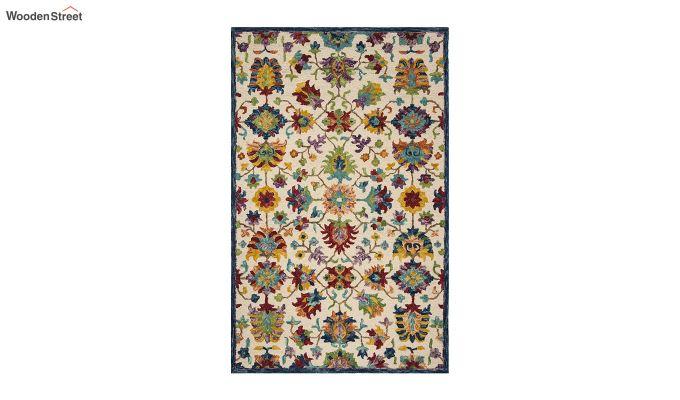 Ivory Suzani Hand Tufted Wool Carpet - 8 x 5 Feet-2