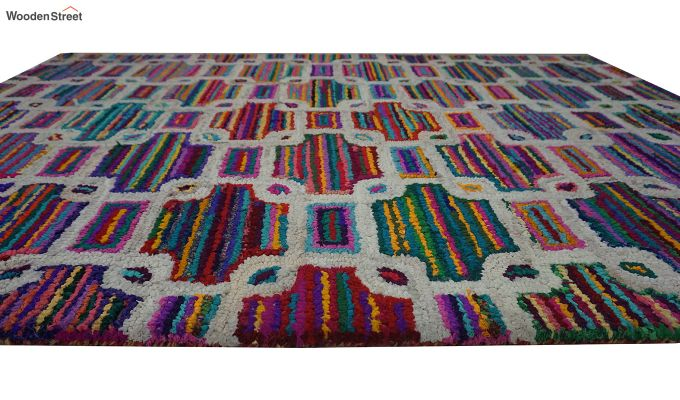Multicolour Checkered Recycled Cotton Chindi Hand Tufted Carpet - 8 x 5 Feet-6