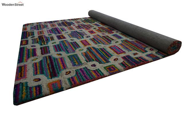 Multicolour Checkered Recycled Cotton Chindi Hand Tufted Carpet - 8 x 5 Feet-8