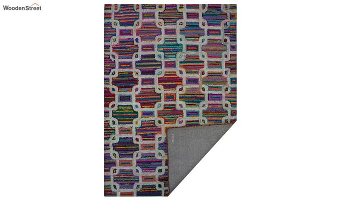 Multicolour Checkered Recycled Cotton Chindi Hand Tufted Carpet - 8 x 5 Feet-10