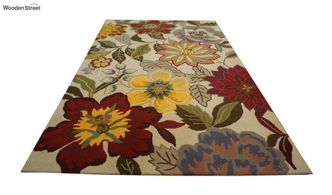 Multicolour Floral Design Hand Tufted Wool Carpet - 8 x 5 Feet-5