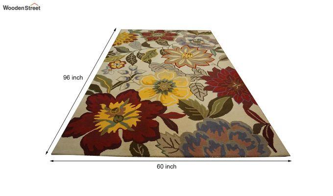 Multicolour Floral Design Hand Tufted Wool Carpet - 8 x 5 Feet-8