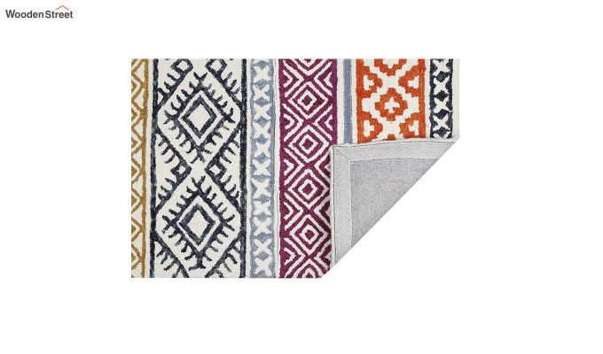 Orange and Blue Geometric Hand Tufted Wool Carpet - 8 x 5 Feet-3