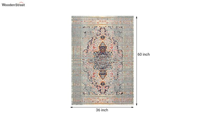 Oriental Pattern Vintage Nylon Carpet - 5 x 3 Feet-8