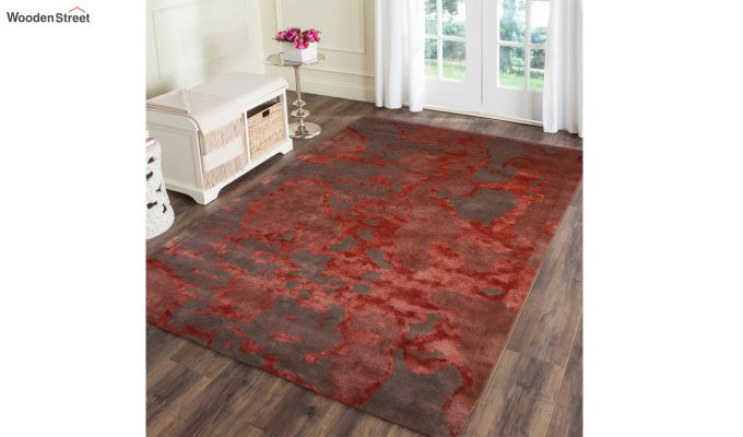 Red Abstract Pattern Hand Tufted Wool and Viscose Carpet - 6 x 4 Feet-1