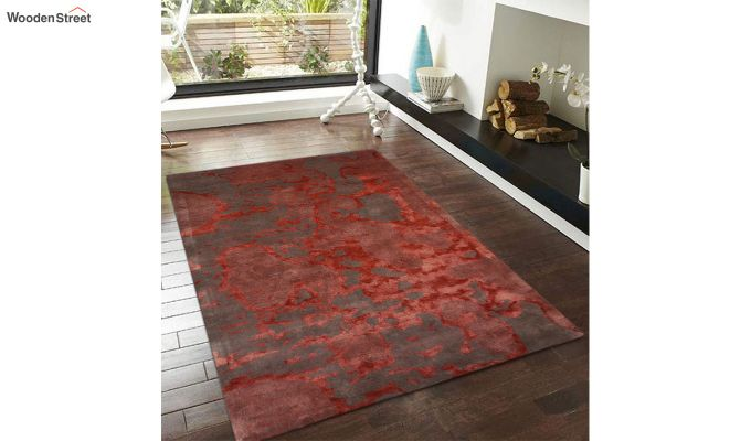 Red Abstract Pattern Hand Tufted Wool and Viscose Carpet - 6 x 4 Feet-2