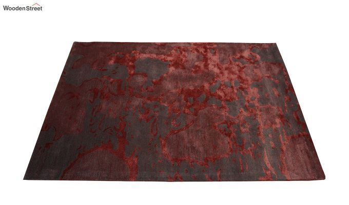 Red Abstract Pattern Hand Tufted Wool and Viscose Carpet - 6 x 4 Feet-3