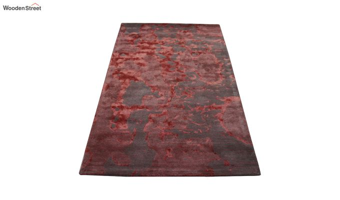 Red Abstract Pattern Hand Tufted Wool and Viscose Carpet - 6 x 4 Feet-5
