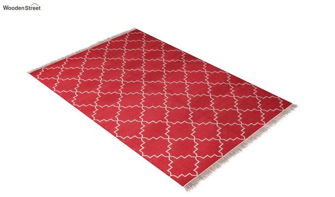 Red Blitz Hand Woven Cotton Rug (Red Blitz)-2