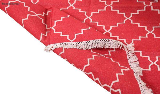 Red Blitz Hand Woven Cotton Rug (Red Blitz)-4