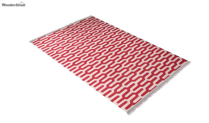 Red Cells Hand Woven Cotton Rug (Red Cells)-2