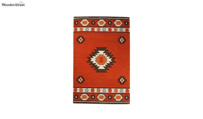Rust Aztec Hand Tufted Wool Carpet - 8 x 5 Feet-2
