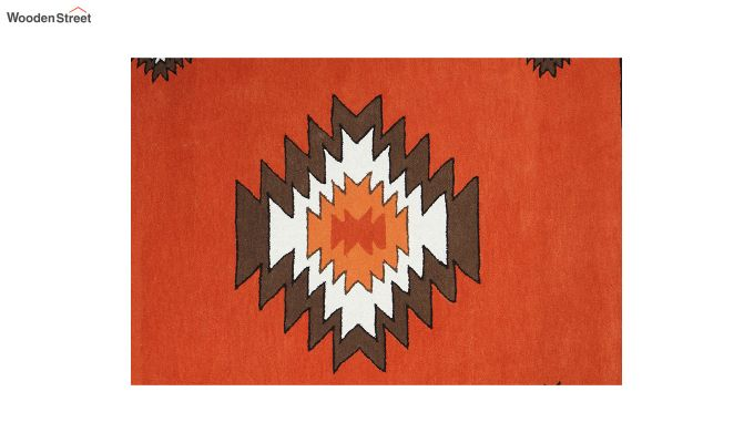 Rust Aztec Hand Tufted Wool Carpet - 8 x 5 Feet-3