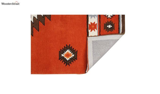 Rust Aztec Hand Tufted Wool Carpet - 8 x 5 Feet-4