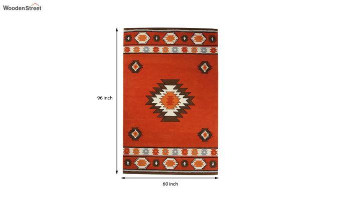 Rust Aztec Hand Tufted Wool Carpet - 8 x 5 Feet-5