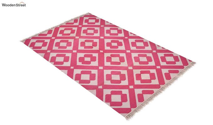 Strawberry Pink Hand Woven Cotton Rug (Strawberry Pink)-2