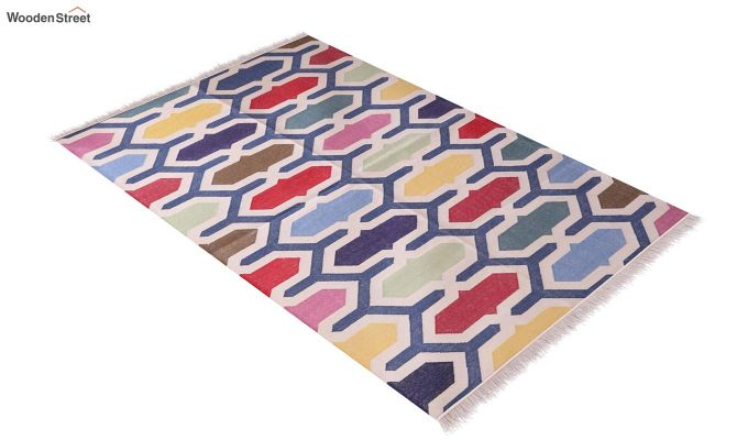 Tinted Cells Hand Woven Cotton Rug (Tinted Cells)-2