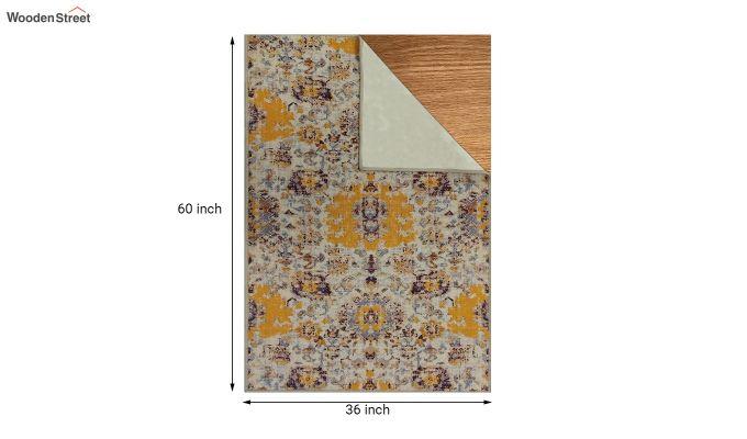 Yellow Washed Vintage Nylon Carpet - 5 x 3 Feet-5