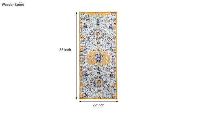 Yellow Washed Vintage Polyester Runner-7