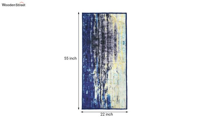 Blue Abstract Pattern Vintage Polyester Runner-7
