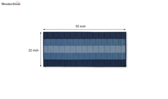 Blue Geometric Pattern Nylon Floor Mat-4