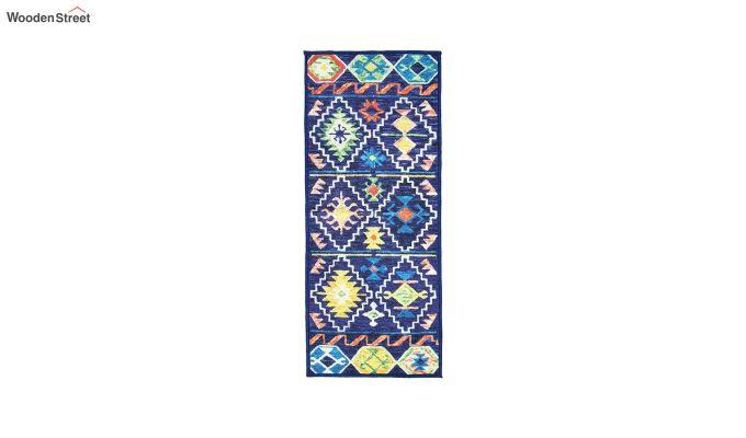 Blue Vintage Polyester Bed Side Runner-4