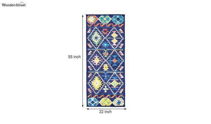 Blue Vintage Polyester Bed Side Runner-7
