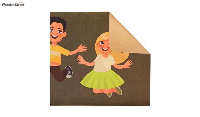 Brown 3D Digital Printed Nylon Kids Runner-3