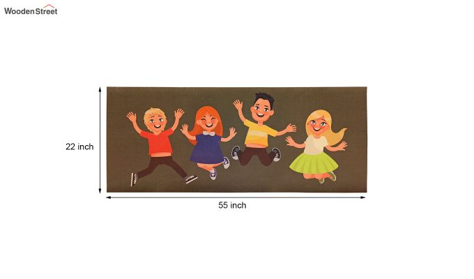 Brown 3D Digital Printed Nylon Kids Runner-4