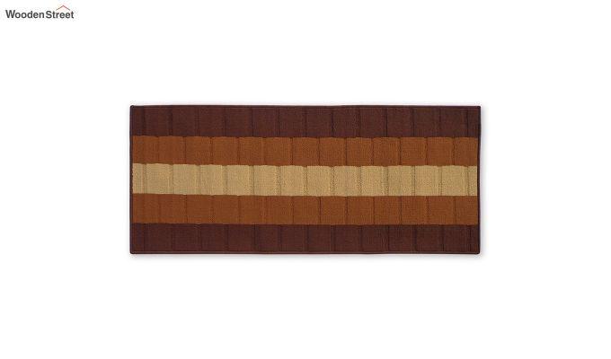Brown Geometric Pattern Nylon Bed Side Runner-2