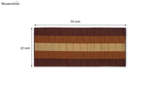 Brown Geometric Pattern Nylon Bed Side Runner-4