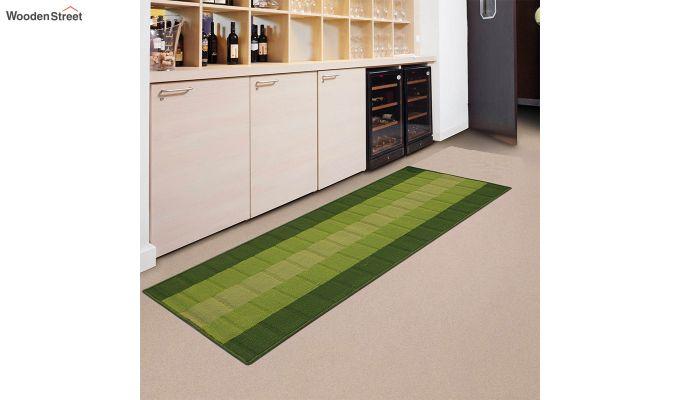 Green Geometric Pattern Nylon Bed Side Floor Mat-1