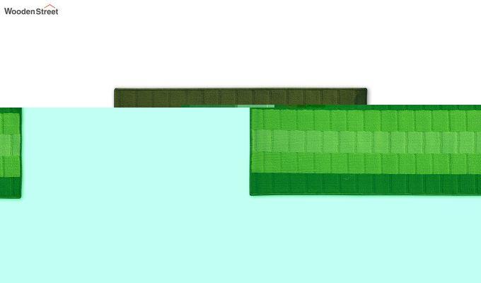 Green Geometric Pattern Nylon Bed Side Floor Mat-2