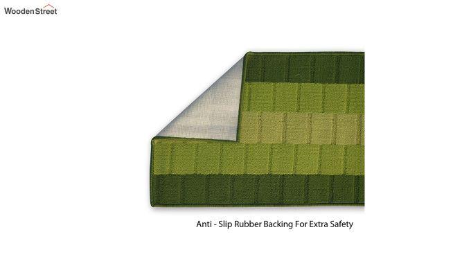 Green Geometric Pattern Nylon Bed Side Floor Mat-3