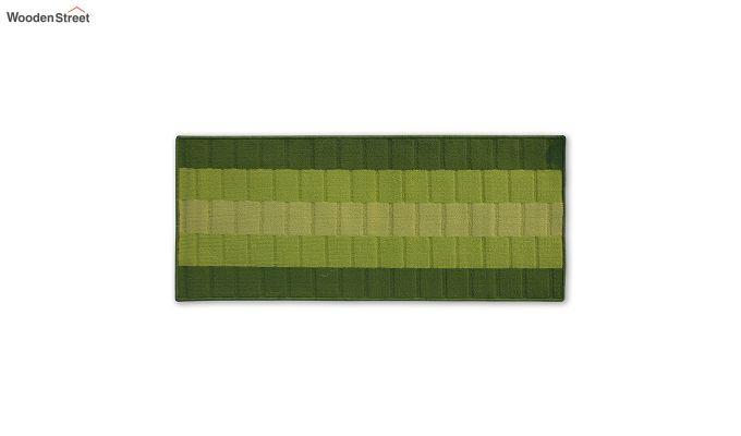 Green Geometric Pattern Nylon Bed Side Floor Mat-4