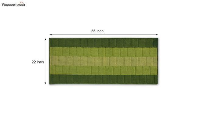 Green Geometric Pattern Nylon Bed Side Floor Mat-5