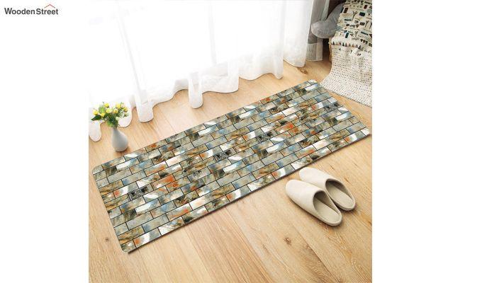 Grey Nylon Geometric Pattern Floor Mat-1