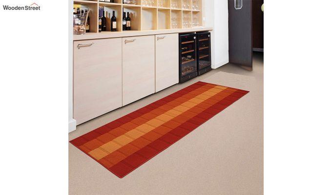 Orange Geometric Pattern Nylon Bed Side Runner-1