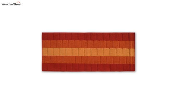 Orange Geometric Pattern Nylon Bed Side Runner-2