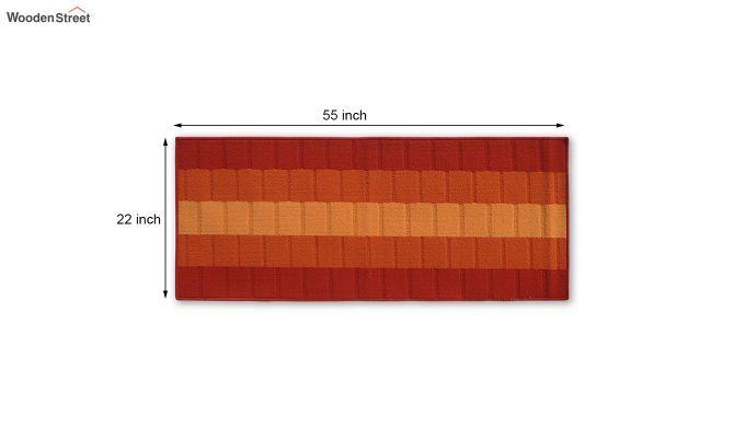 Orange Geometric Pattern Nylon Bed Side Runner-4
