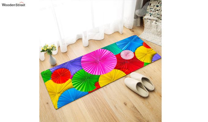 Pink Abstract Pattern Nylon Bed Side Runner-1