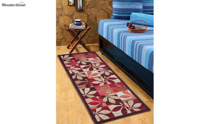 Red Floral Pattern Nylon Floor Mat-1
